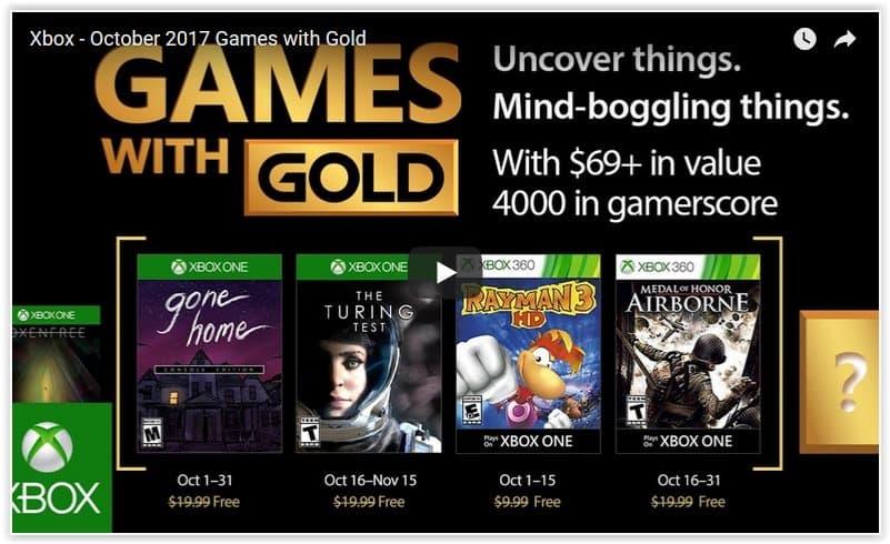 Game with Gold: Les jeux d' Octobre dévoilés