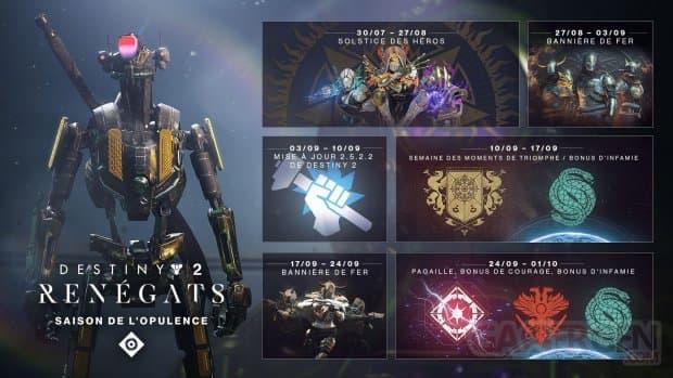 Destiny 2: Renégats, le planning de la fin de la Saison de l'Opulence