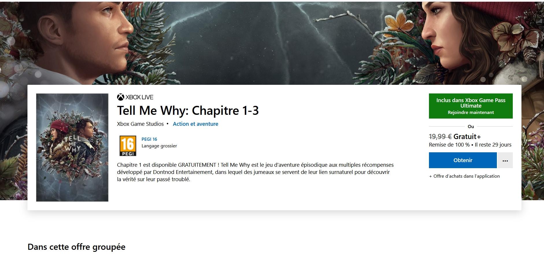 Bon plan: Tell Me Why Chapitre 1-3 gratuit